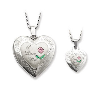 "Sterling ""I Love You"" Heart Locket & Child's Pendant Set - J312084"
