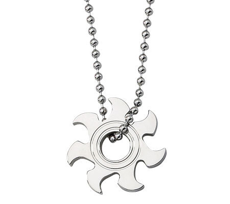 "Forza Stainless Steel Sunburst Pendant w/ 22"" Chain"