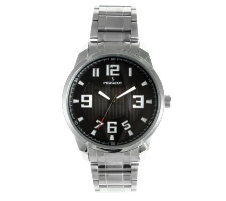 Peugeot Men's Carbon Fiber Cutout Dial Watch