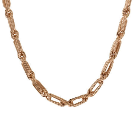 "Bronzo Italia 16"" Elongated Oval Twist Necklace"