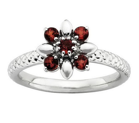 Simply Stacks Sterling Gemstone Flower Ring