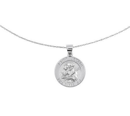 "Polished Saint Joseph Pendant w/ 18"" Chain, 14KGold"