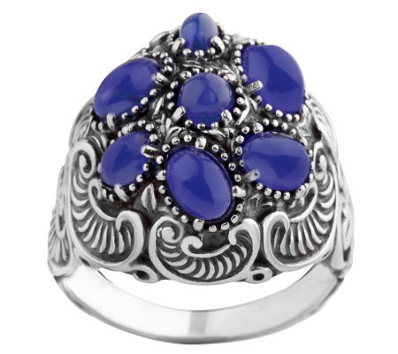Carolyn Pollack Sterling Blue Chalcedony Cluster Ring