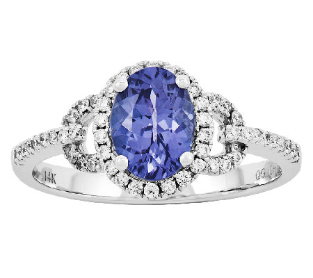 1.45 cttw Oval Tanzanite 1/5 cttw Diamond Ring,14K White Gold