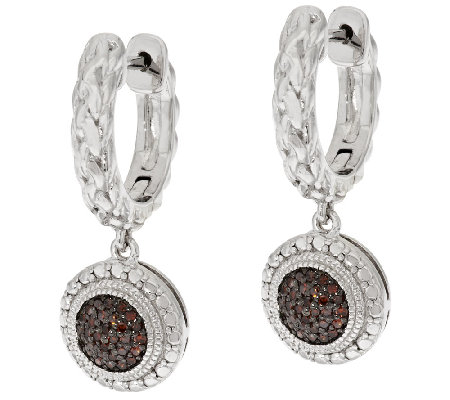 Round Pave' Woven Diamond Earrings, Sterling, 1/5ct by Affinity