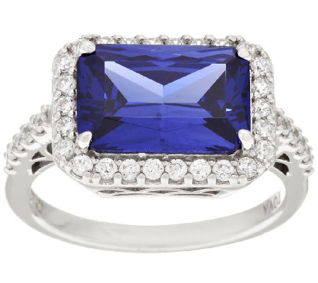 TOVA Diamonique & Simulated Tanzanite Ring, Sterling