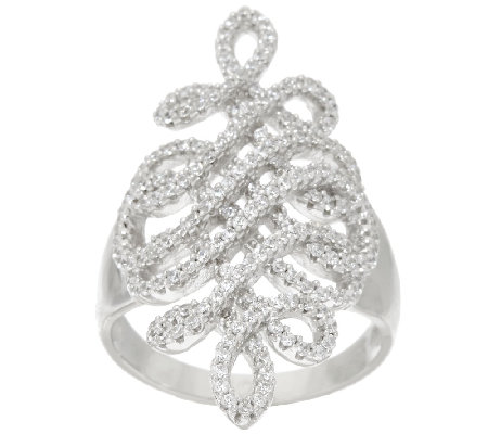 VicenzaSilver Sterling 9/10 cttw Diamonique Swirl Ring