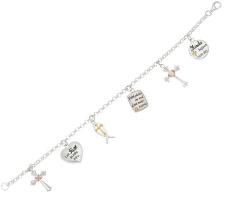 Sterling Love or Faith Tri-Color Charm Bracelet