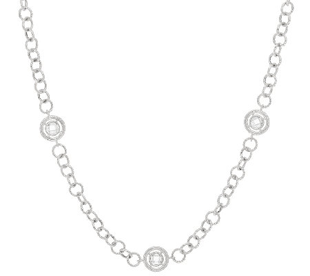 "Judith Ripka 36"" Sterling Verona Station Necklace"