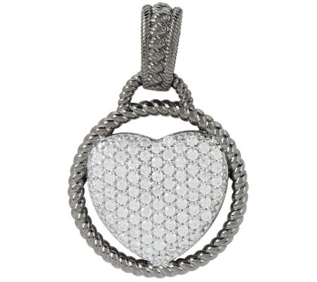 """As Is"" Judith Ripka Sterling 0.34 ct Pave Diamonique Heart Enhancer"