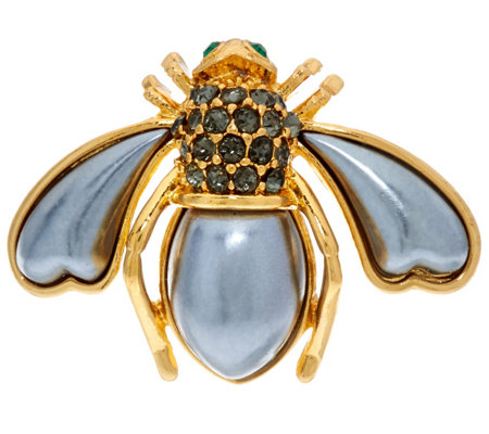 Joan Rivers Pave' and Faux Pearl Bee Pin