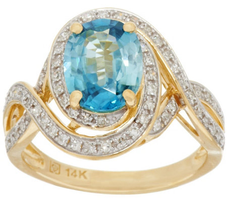"""As Is"" 2.20 ct Blue Zircon & 1/4 ct tw Diamond Ring 14K Gold"