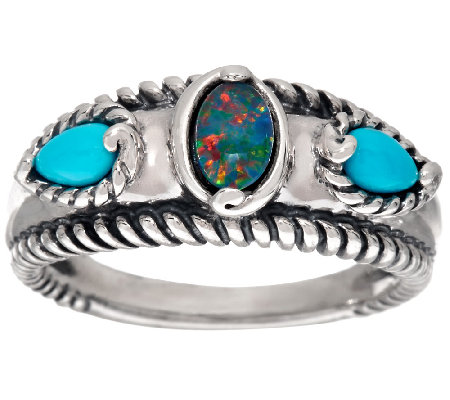 Carolyn Pollack Sleeping Beauty Turquoise & Opal Triplet Band Ring