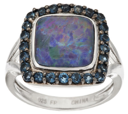 """As Is"" Australian Opal Triplet & Blue Topaz Sterling Halo Ring"