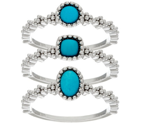 """As Is"" Sleeping Beauty Turquoise Sterling Silver S/3, Stack Ring"