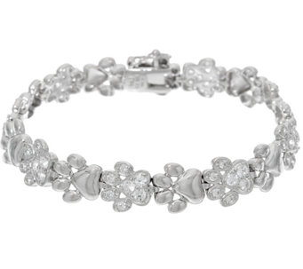 Diamonique Polished & Pave' Paw Print Bracelet, Sterling - J329184