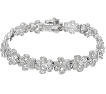 Diamonique Polished & Pave' Paw Print Bracelet, Sterling