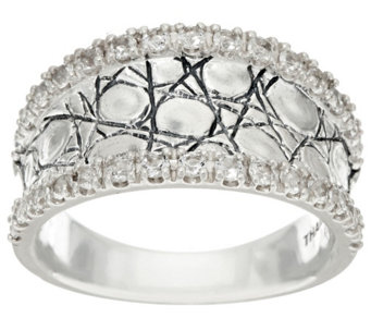 """As Is"" JAI Sterling & White Topaz Concave Croco Ring - J331084"