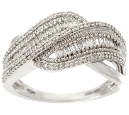 Baguette Diamond Swirl Ring, Sterling, 1/3 cttw by Affinity