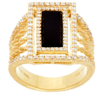 Judith Ripka Sterling & 14K Clad Onyx & Diamonique Ring - J331984