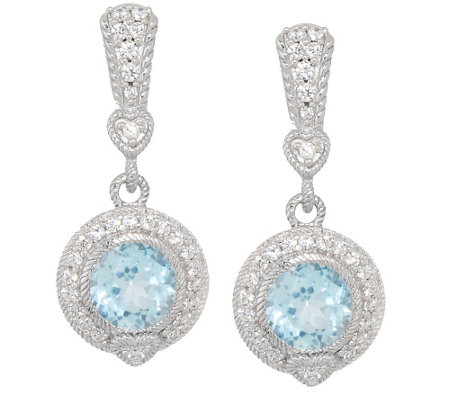"""As Is"" Judith Ripka Sterling & Diamonique 3.95 ct Blue Topaz Earrings"