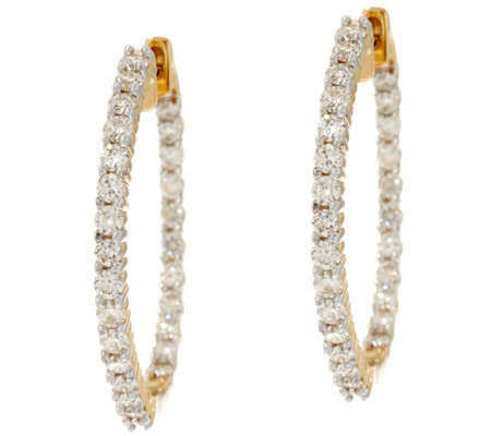 Round Diamond Inside Out Hoop Earrings, 14K, 1.00 cttw, by Affinity