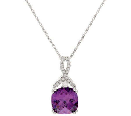 Diamonique and Simulated Amethyst Pendant w/ Chain, Sterling