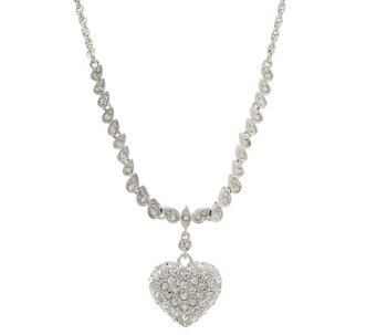 """As Is"" KJL Pave' Heart Necklace - J335584"