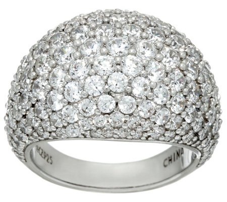 """As Is"" Diamonique Pave' Domed Ring, Sterling"