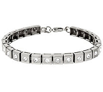 """As Is"" Stainless Steel Polished Crystal Line Bracelet - J346384"