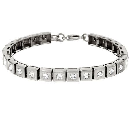 """As Is"" Stainless Steel Polished Crystal Line Bracelet"