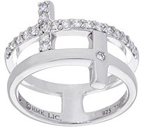 """As Is"" Hallmark Sterling Cubic Zirconia Double Cross Ring - J346784"