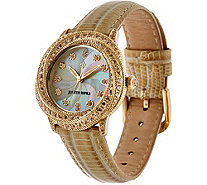 Judith Ripka Stainless Steel Diamonique Tempest Leather Watch - J348184