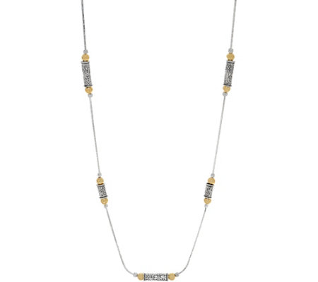 "Or Paz Sterling Two-tone Beaded 24"" Station Necklace"
