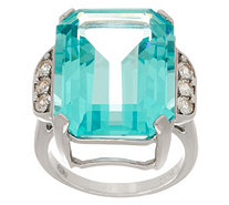 Diamonique and Simulated Aquamarine Emerald Cut Ring, Sterling - J357384