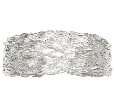 Sterling Wavy Wire Cuff by Silver Style, 39.5g