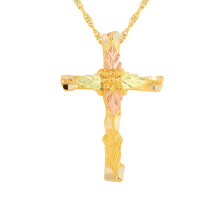 Black Hills Cross Pendant w/ Chain 10K/12K