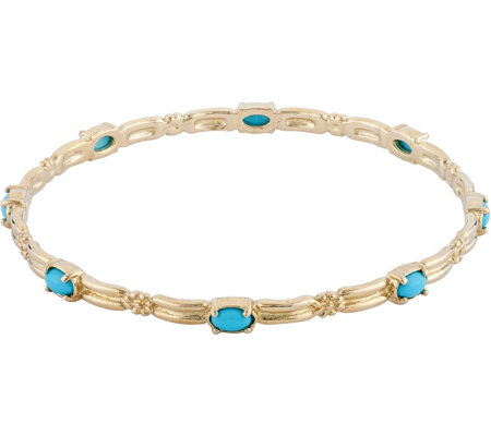 American West Brass and Turquoise Bangle