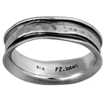 Or Paz Sterling Silver Men's Slightly Hammered Band Ring