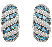 Sterling 1.10 cttw Swiss Blue Topaz Beaded Hoop Earrings - J378084