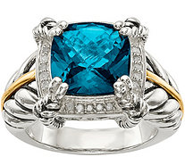 Sterling Silver & 14K Gold London Blue Topaz &Diamond Ring - J378184