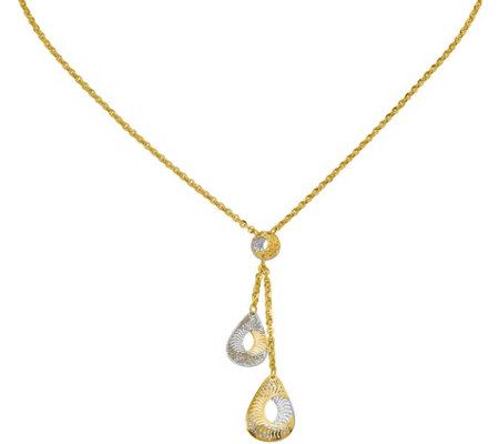 14K Two-tone Fancy Y-Drop Necklace, 3.2g