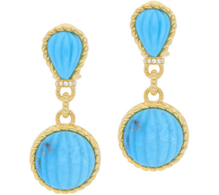 Judith Ripka Sterling & 14K-Clad Turquoise DropEarrings