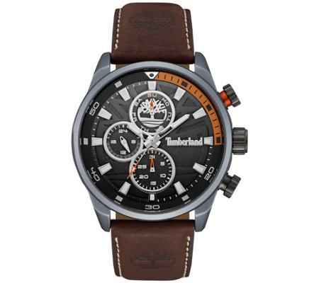 Timberland Men's Stainless Brown Leather Multi-Function Watch