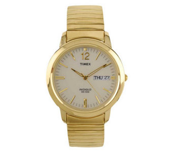 Timex Men's Watch with Goldtone Expansion Bandand White Dial - J102885