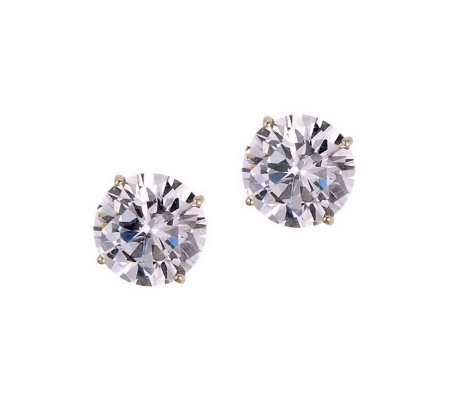 Diamonique 3.00 ct tw Round Stud Earrings, 14KGold