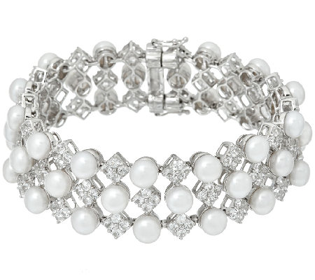 Honora Cultured Pearl 6.0mm Average White Topaz Sterling Bracelet