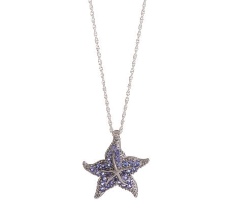 Sterling 1.00 ct tw Tanzanite Starfish Enhancerw/Chain