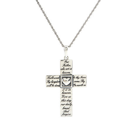 "Sterling ""Our Father"" Prayer Cross Pendant with 18"" Chain"