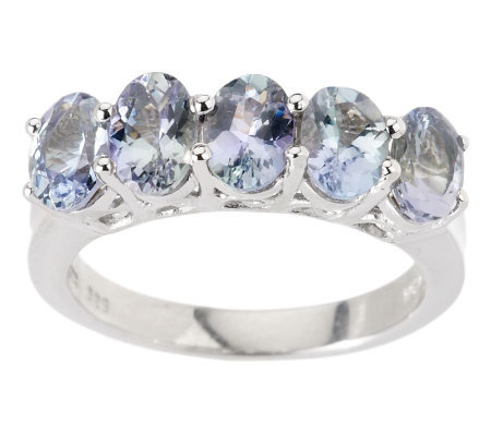 1.80 ct tw Bondi Blue Tanzanite 5-Stone Sterling Ring